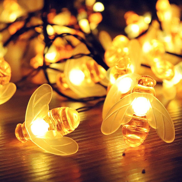 6.5M Solar Powered Honey Bee 30 LED Fairy String Light Party Outdoor Garden Waterproof Hanging Lamp