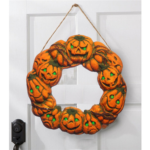 Halloween Spooky Wreath LED Lantern LED Pumpkin Light Door Hanger Home Decor