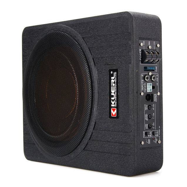 600W 10 Inch 12V Car Under Seat Active Amplifier Subwoofer Slim Speaker Amplifier with Remove Control Car Speaker