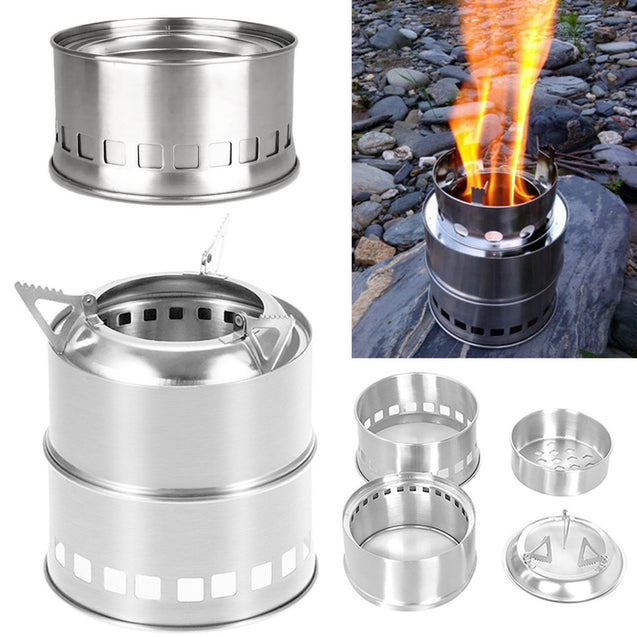 IPRee Portable Mini Camping Cooking Stove Stainless Steel Wood Burner Furnace Cooker