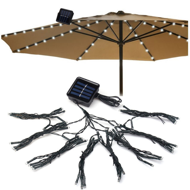Solar Powered 19M 72LEDs Patio Umbrella Cool White Fairy String Light For Christmas Party