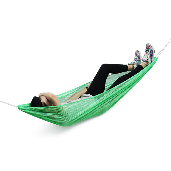 190*130cm 1-2 Person Ice Silk Outdoor Hammock Nylon Rope Net Hanging Sleeping Double Bed