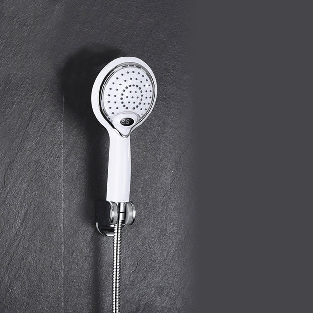 Bathroom Handheld Shower Spray Head ABS Plating 3 Color LED Digital Temperature Display w/ Hose