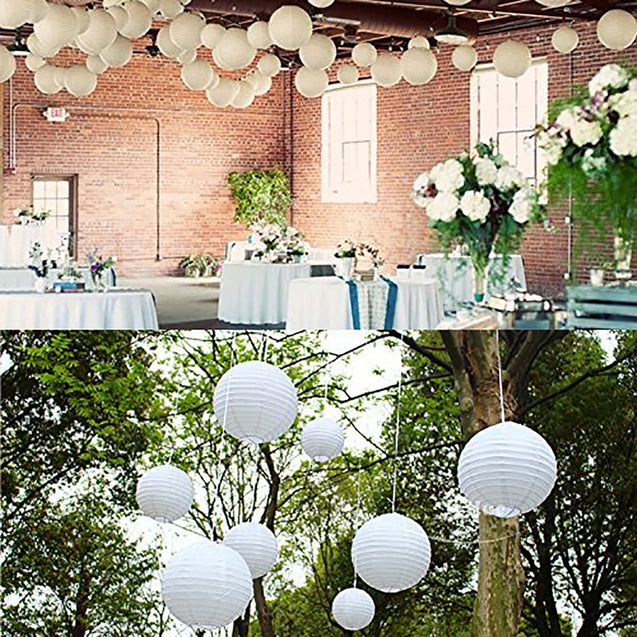 "20PCS 4-12"" White Paper Lanterns Round Chinese Hanging Ball Lamp Cover for Birthday Wedding"""