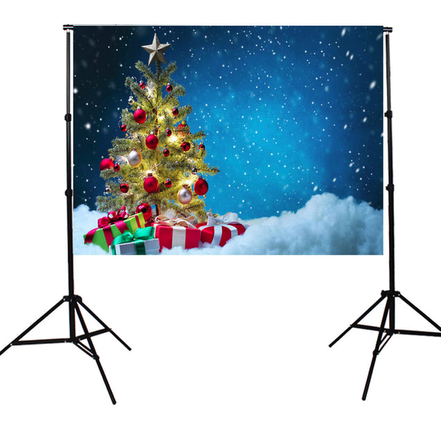 7x5FT Christmas Theme Blue Photo Backdrop Vinyl Fabric Studio Photography Background