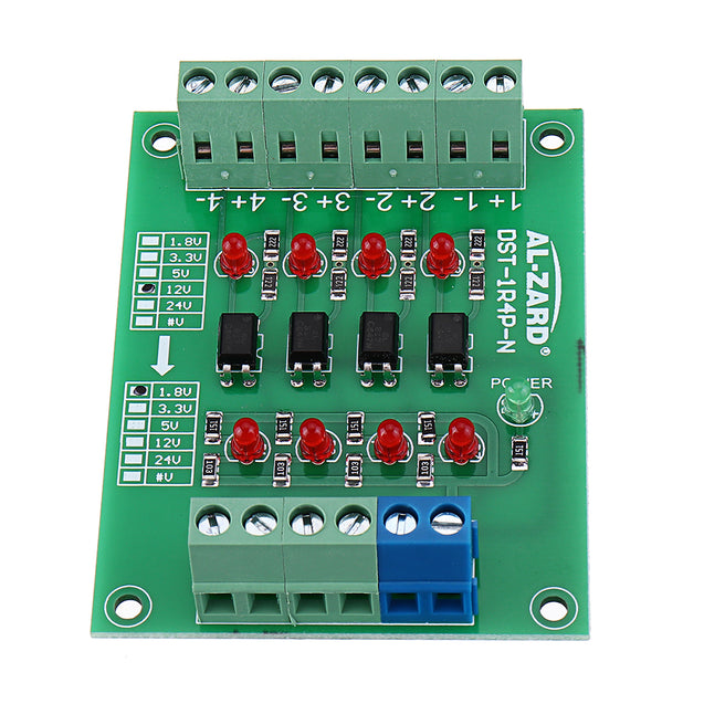 5pcs 12V To 3.3V 4 Channel Optocoupler Isolation Board Isolated Module PNP Output PLC Signal Level Voltage Converter