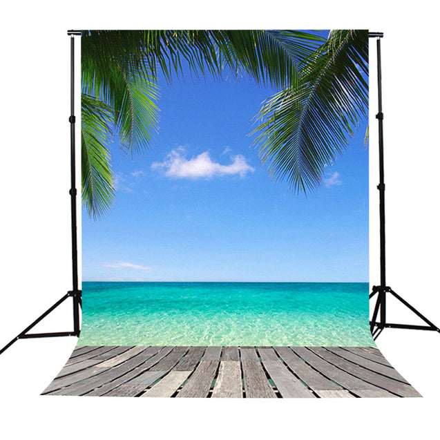 5x7Ft Hawaii Seaside Beach Sky Tree Scenery Photography Background Backdrop Studio Prop