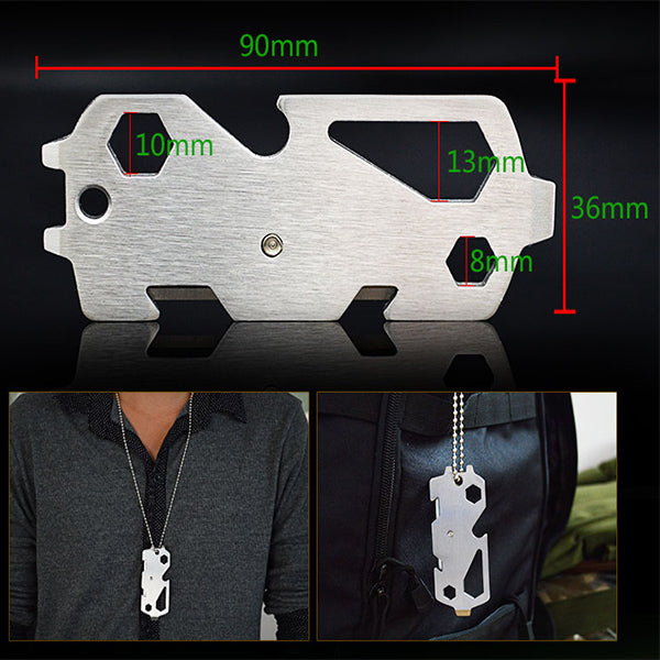 IPRee EDC Multifunctional Pocket Tool Survival Combination Kit With Screwdriver Wrench Opener Cutter