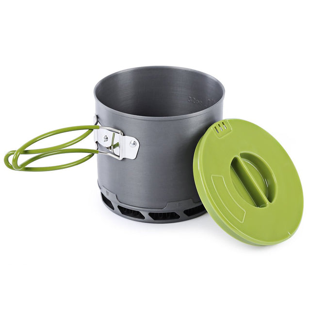 4pcs 2-3 People Non-stick Camping Pot Bowl Pan Set Portable Picnic Tableware Cookware Cooking Stove