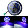 7inch 6000K LED Hi-Lo Beam Headlight Halo Angle Eyes White DRL Blue Turn Light For Jeep Wrangler