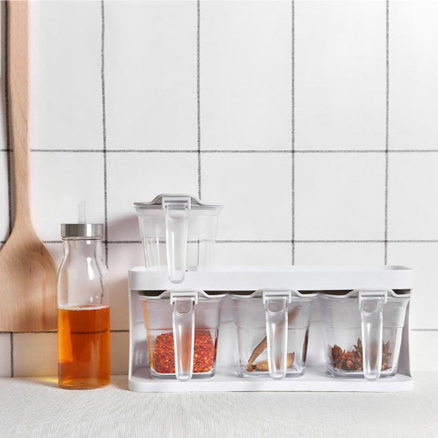XIAOMI HELLO LIFE 3PCS/Set 370ml Drawer Type Flavouring Tool Clear Salt Canister Sauce Storage Box Container