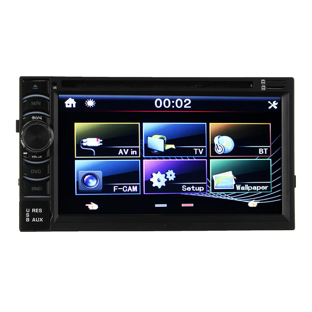 Double 2 Din 6.5 Inch In Dash Stereo Car DVD CD Player bluetooth Radio iPod SD/USB TV