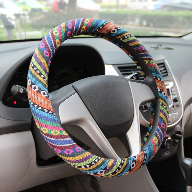 15/38cm Universal Car Steel Ring Wheel Cover Natural Fiber Wrap Colorful Non-slip