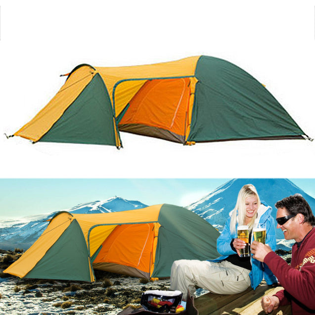 4 People Large Camping Family Tent Waterproof Double Layer UV Proof Sunshade Canopy