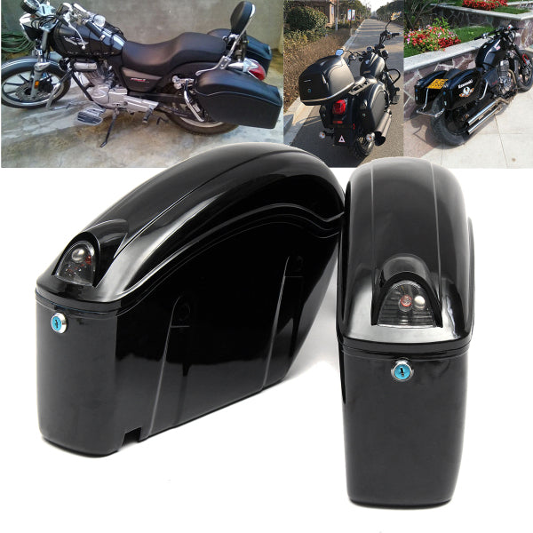 2pcs Cruiser Motorcycle Trunk Hard Bagaglio W/Lights Keys Saddlebags Luggages Waterproof