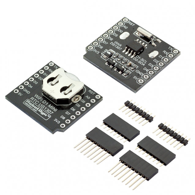3Pcs RobotDyn RTC DS1307 Real Time Clock Battery Shield With Pin Headers Set