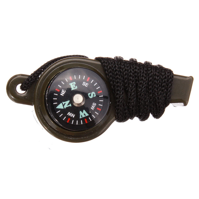 Outdoor Survival Tool Triad Whistle Compass Thermometer With Hang Rope