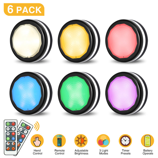 6 Pcs Elfeland RGB cabinet lighting Led night light with remote control