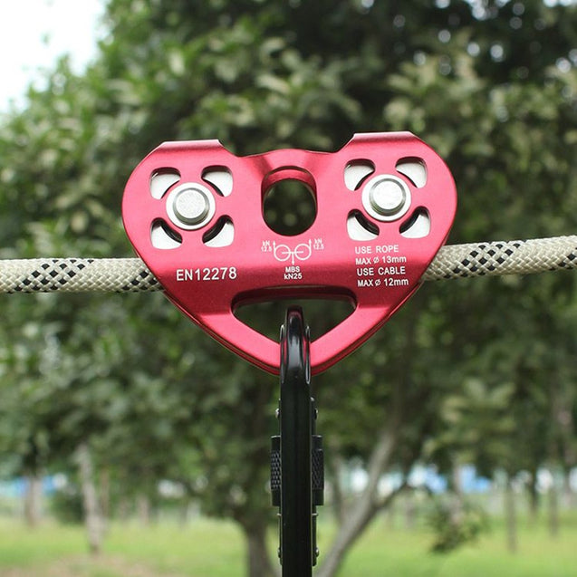 IPRee Outdoor 30KN Rock Climbing Dual Pulley Heart-Shaped Roller Mountaineering Rope Cable Bearing Device