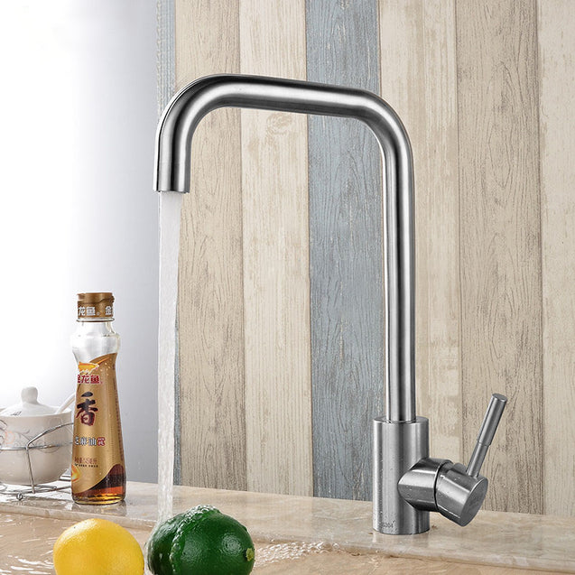 KCASA KC-303 Stainless Kitchen Sink Faucet Single Handle Rotation Spout Deck Cold and Hot Water