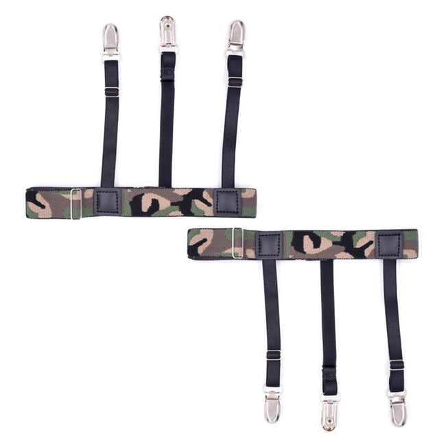 1 Pair Non-slip Anti-wrinkle Garter Camouflage Striped Elastic Shirt Anti-slip Tactical Clip