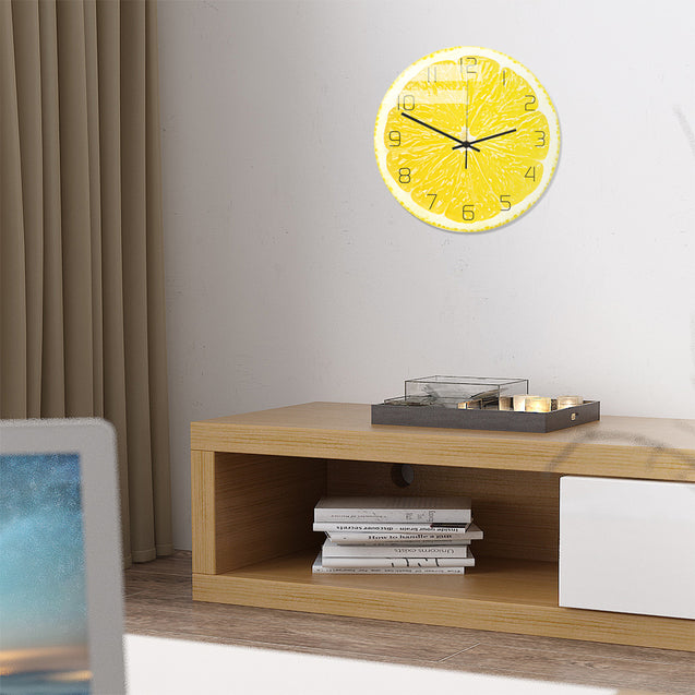 Loskii CC094 Creative Lemon Wall Clock Mute Wall Clock Quartz Wall Clock For Home Office Decorations