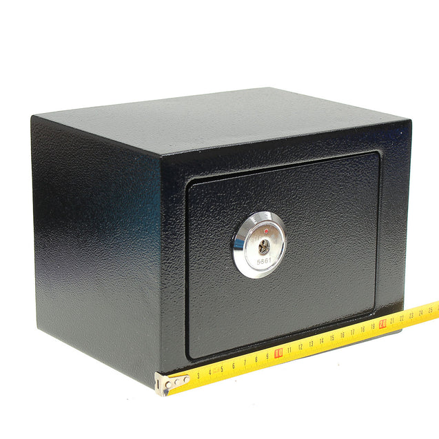 Iron Steel Black Key Operated Safe Box Money Cash Strong Steel for Home Office