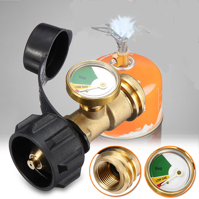 Camping Stove Converter Portable Gas Tank Adapter Gas Tank Connector With Tank Meter