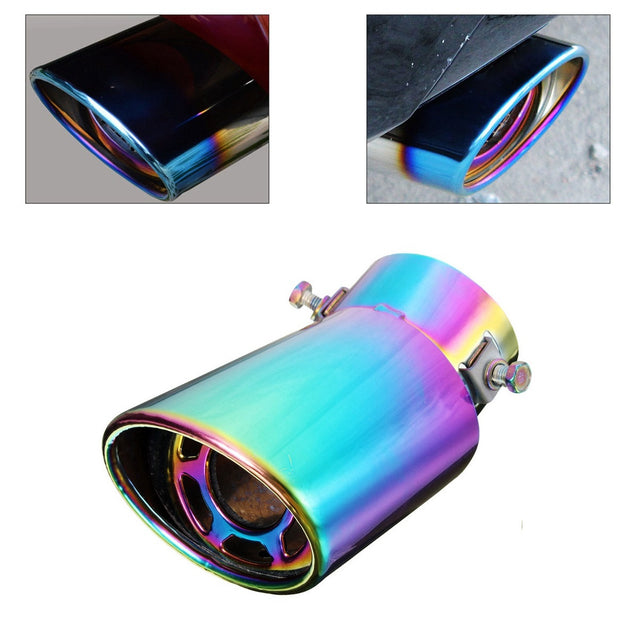 60mm Stainless Steel Universal Curved Car Rear Exhaust Pipe Muffler Tip
