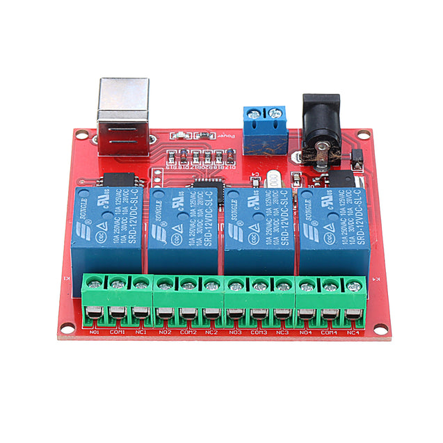 4CH Channel 12V Computer USB Control Switch Free Drive Relay Module PC Intelligent Controller