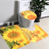 Sunflower Waterproof Polyester Shower Curtain Bathroom Carpet + Pedestal Rug + Toilet Seat Cover