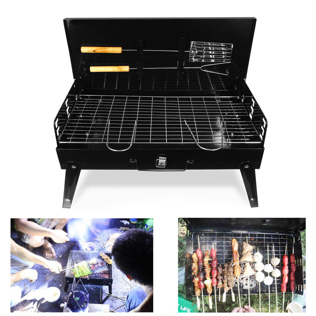 Folding Portable BBQ Barbecue Grill with Tools Charcoal Camping Garden Outdoor Cooking Ware