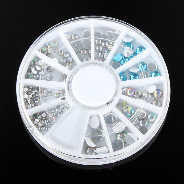6 Size 3D Crystal Glitter Rhinestone Nail Art Decoration Wheel