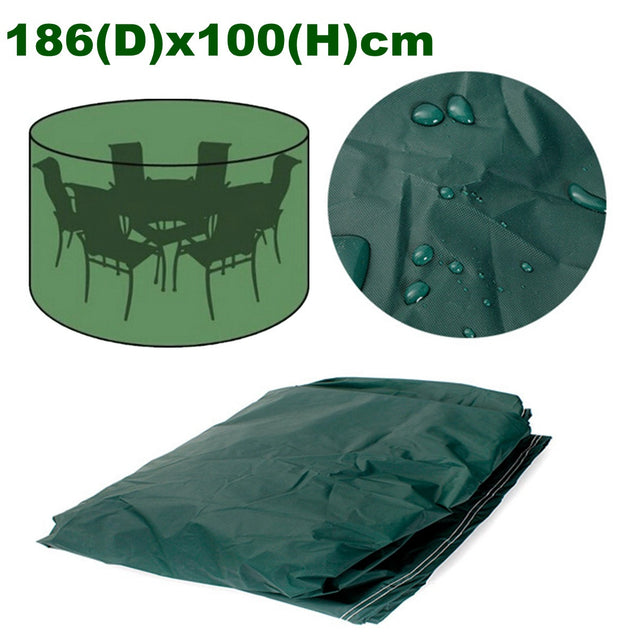186x100cm Round Furniture Cover Waterproof For Patio Table Chair