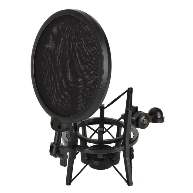 Studio Microphone Mic Shock Mount with Pop Filter Mic Windscreen