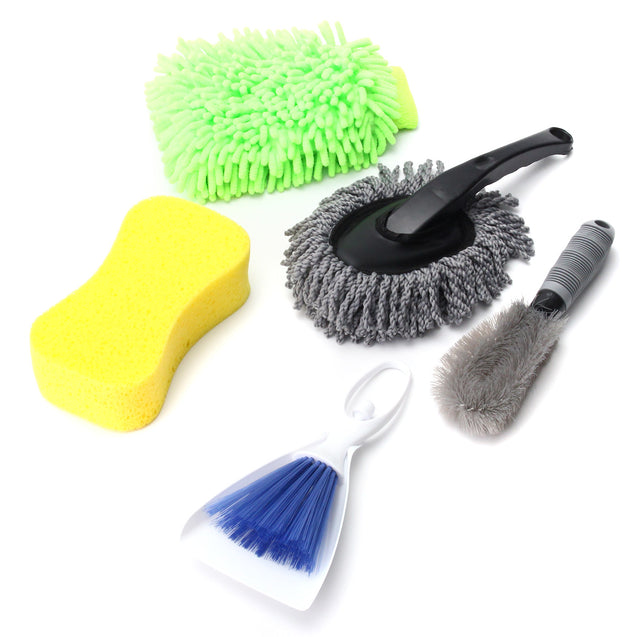 5PCS Car Interior Exterior Wash Cleaning Tool Kit Cleaner Brush Sponge Glove