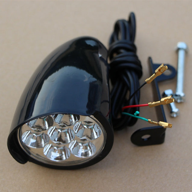 BIKIGHT 7x LEDs Bike Front Light Metal Shell 80db Horn Electric Scooter Headlight Motorcycle E-bike