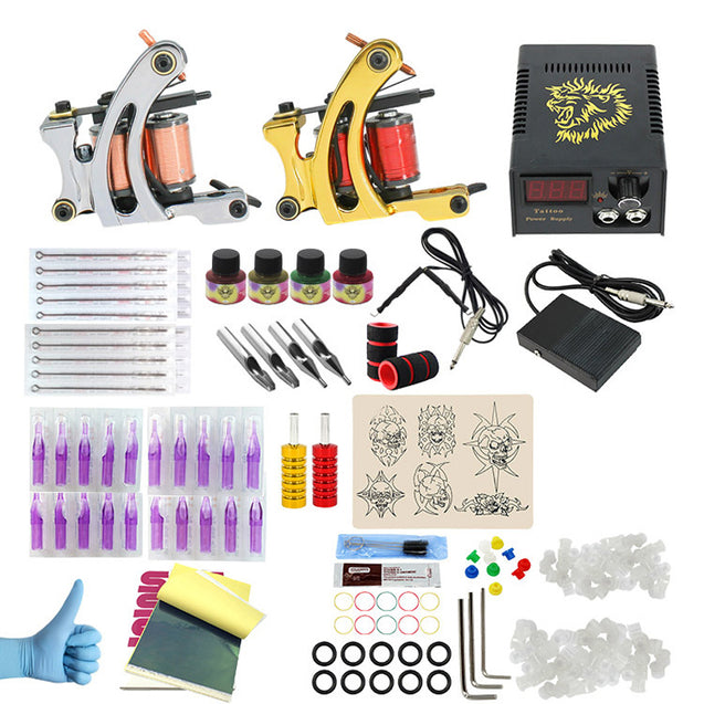 Professional Complete Tattoo Kits 2 Coils Tattoo Machine Set 4 Colors Pigment Set LED Power Supply
