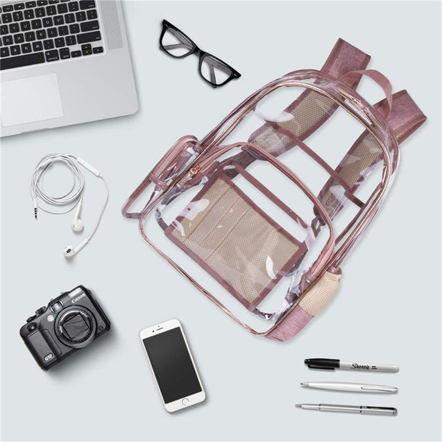 Clear Transparent Backpack PVC Zipper School Bag Camping Travel Waterproof Rucksack