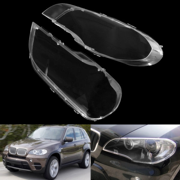 2pcs Clear Plastic Headlight Cover Lens Lampshade For BMW 2008-2013 X5 E70