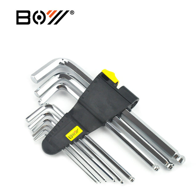 BOY 6205 9Pcs 1 Set Hex Key Wrench 1.5/2/2.5/3/4/5/6/8/10mm Hand Tool Ball Point End Silver Tone