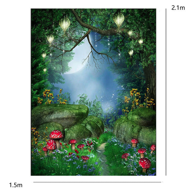 Fairy Tale World Green Forest Photography Background Cloth Backdrop Photo Props
