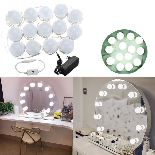 Hollywood Style 14Bulbs White LED Vanity Mirror Lights Kit + EU Power Supply Adapter+Dimmer