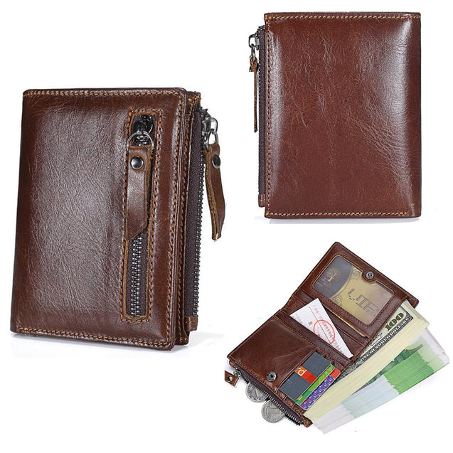 Men's Vintage Genuine Leather Brown Short Wallet Card Holder Coin Pocket Purse