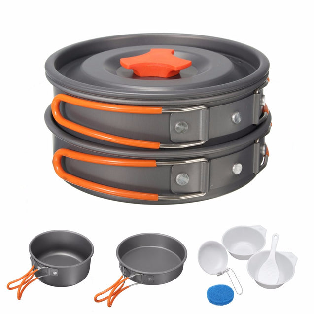 8Pcs Camping Aluminum Pot Bowl Portable Outdoor Picnic Cooking Pan Set Cookware