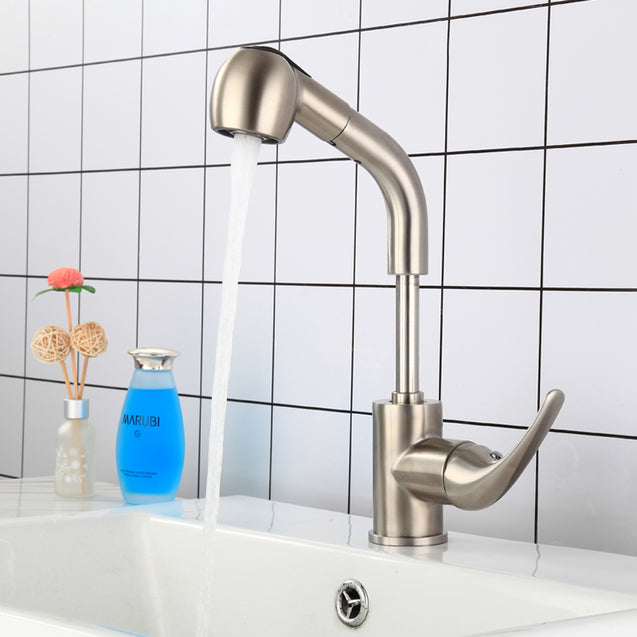 Stainless Steel Brushed Faucet Up Down Pull Out Faucet Single Handle Sprayer Bar Kitchen Sink Faucet