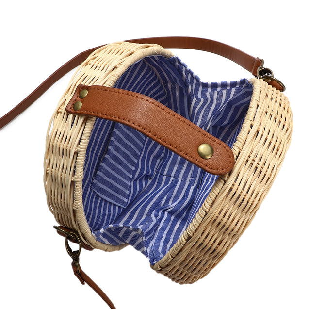 20X20cm Round Straw Bag Outdoor Camping Travel Handmade Woven Crossbody Shoulder Bag