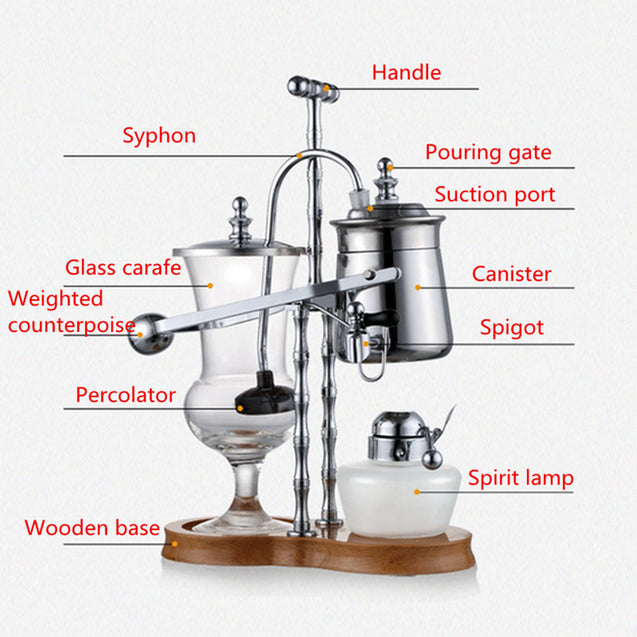 Stainless Steel Diguo Belgium Belgian Royal Balance Syphon Coffee Maker Siphon Brewer TOP Grade
