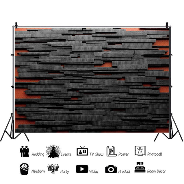 Dark Black Wooden Board Stacked Wall Unique 3D Photography Backdrop Photo Background