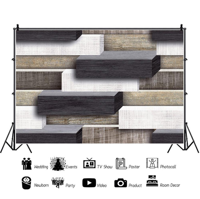 Unique 3D Pattern Colorful Wooden Wall Stacked Photography Backdrop Backgrounds Photo Studio